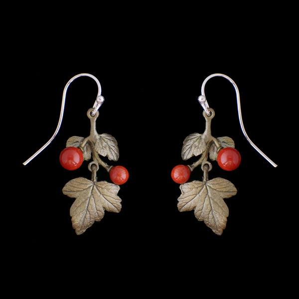Goose Berry Earrings - Small Leaf Wire