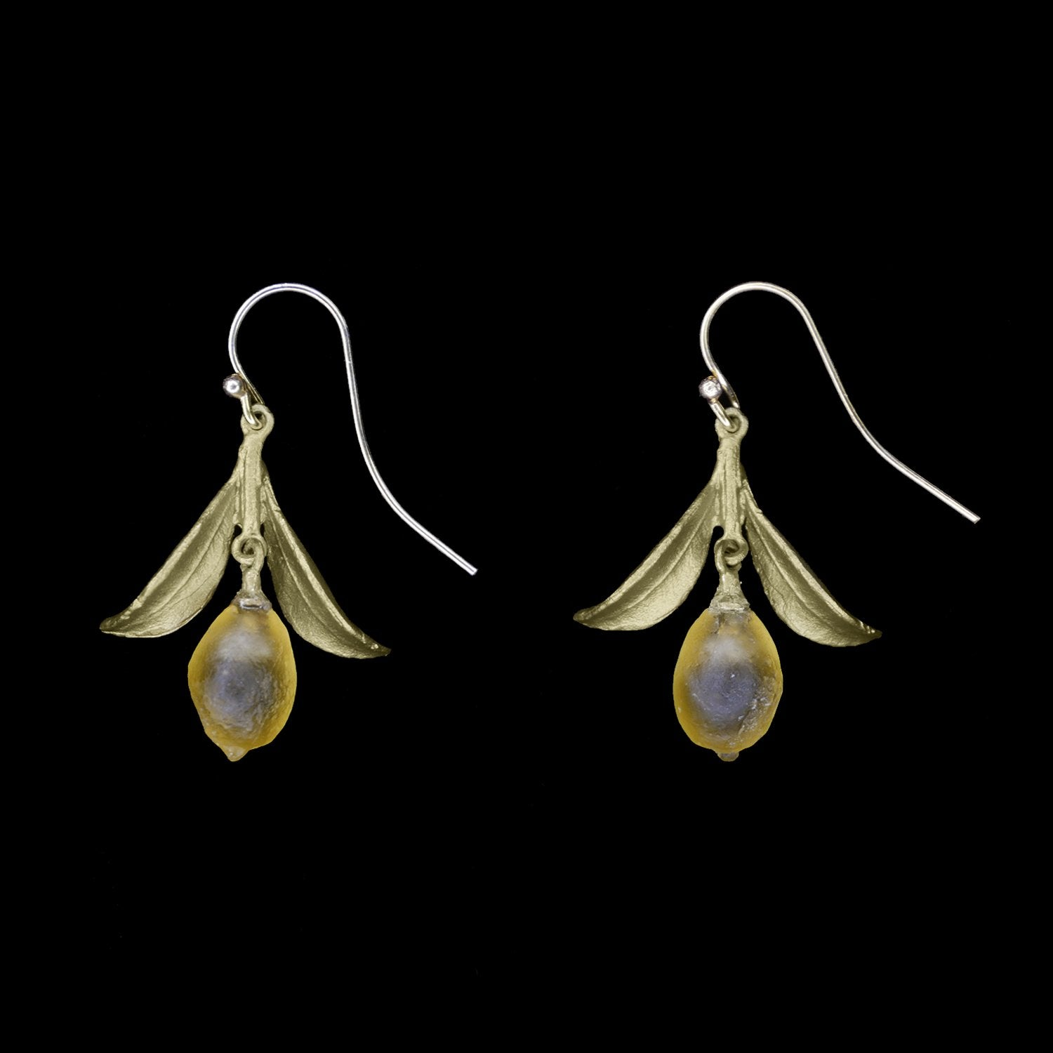 Lemon Drop Earrings - Dangle Leaf Wire