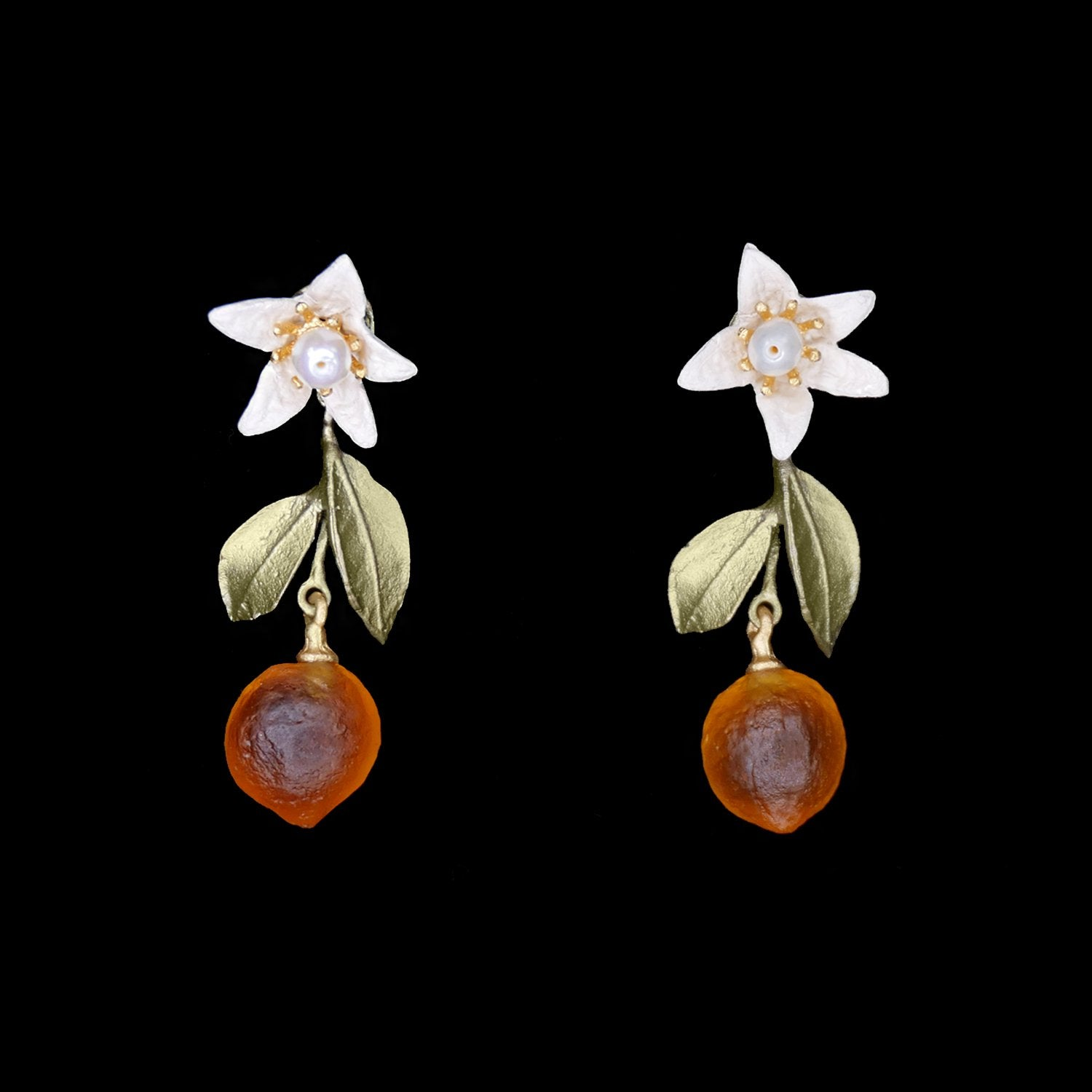 Orange Earrings - Flower and Drop Post