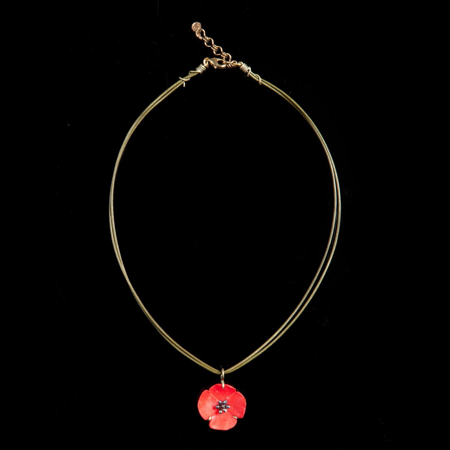 Red Poppy Pendant - Leather Cord