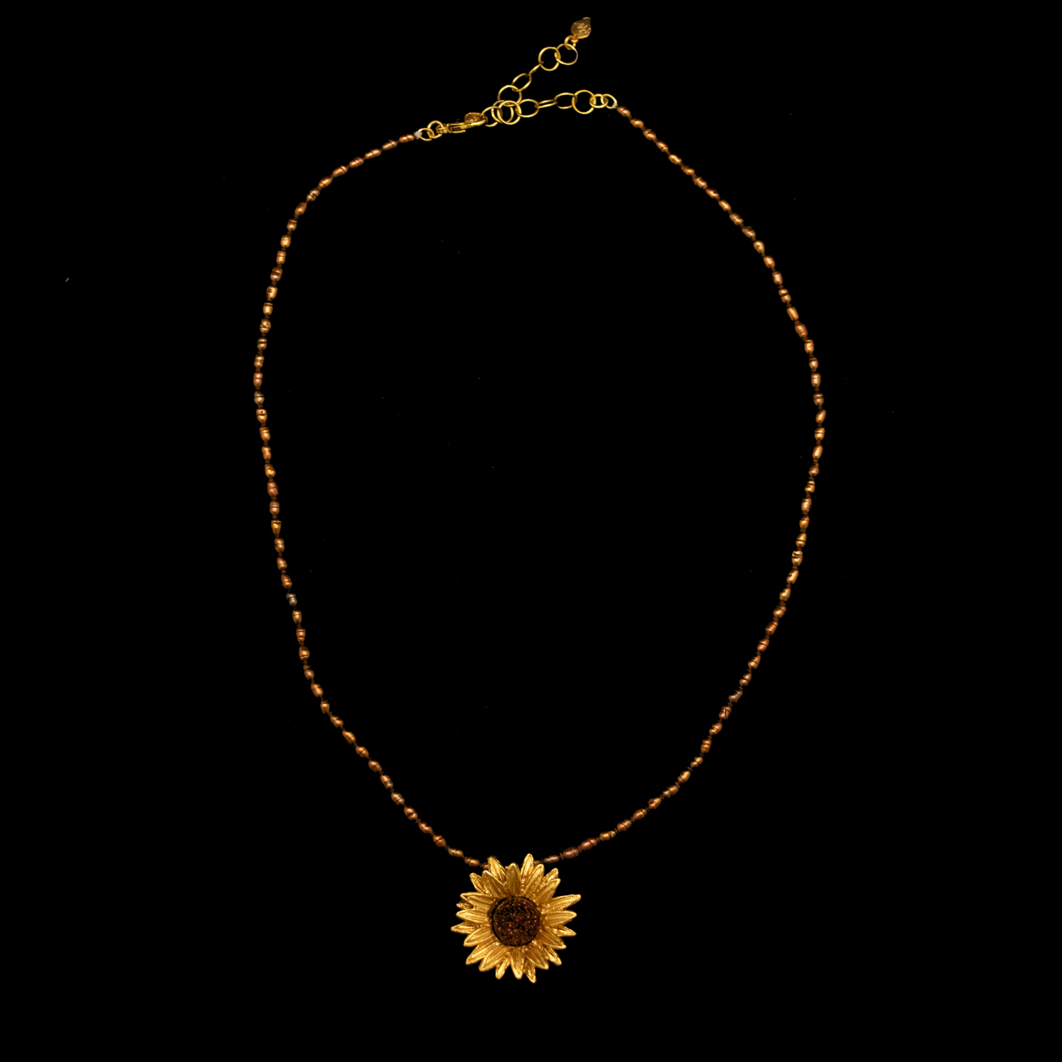 Fine Sunflower Pendant Brown Pearls