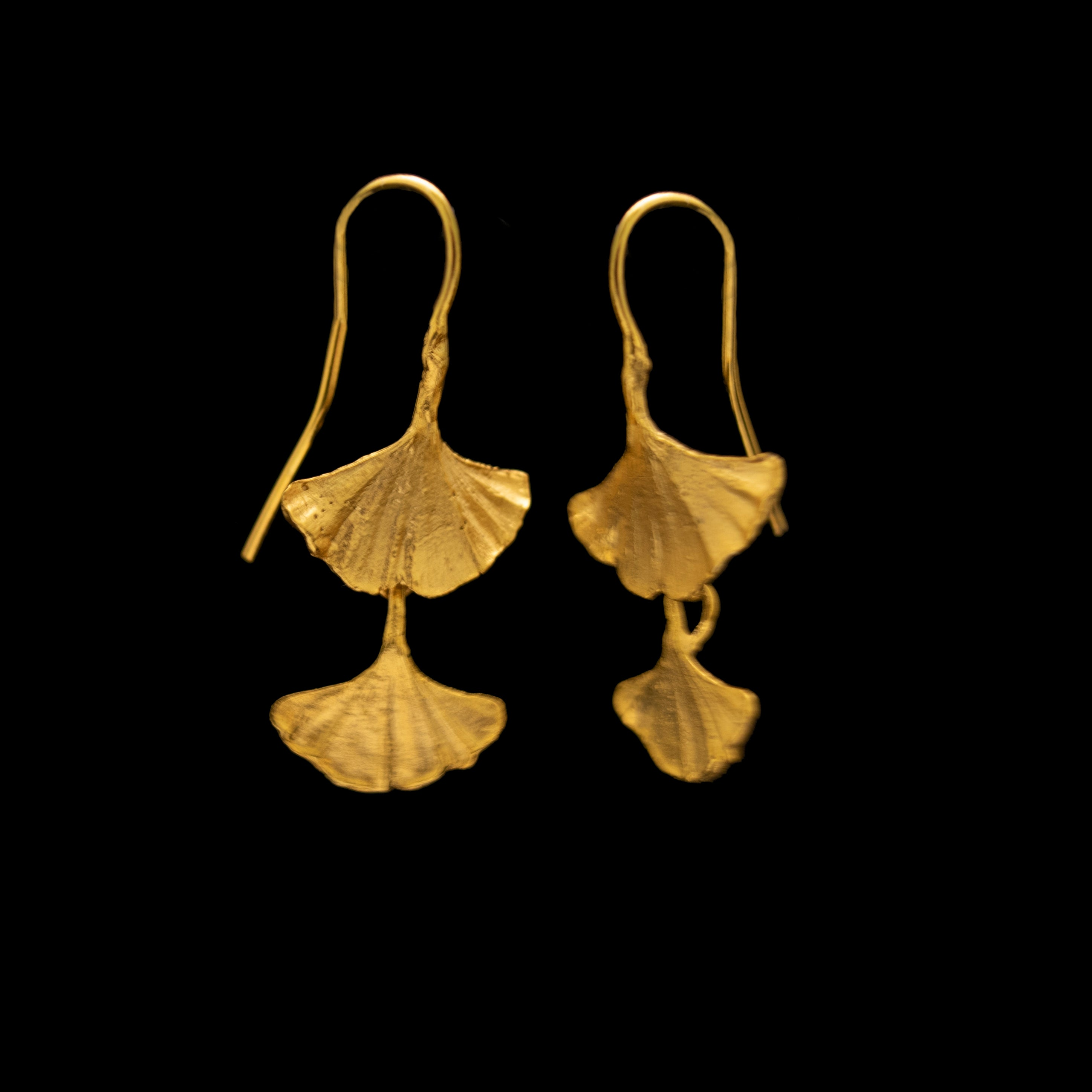 Fine Ginkgo Earrings - Double Leaf