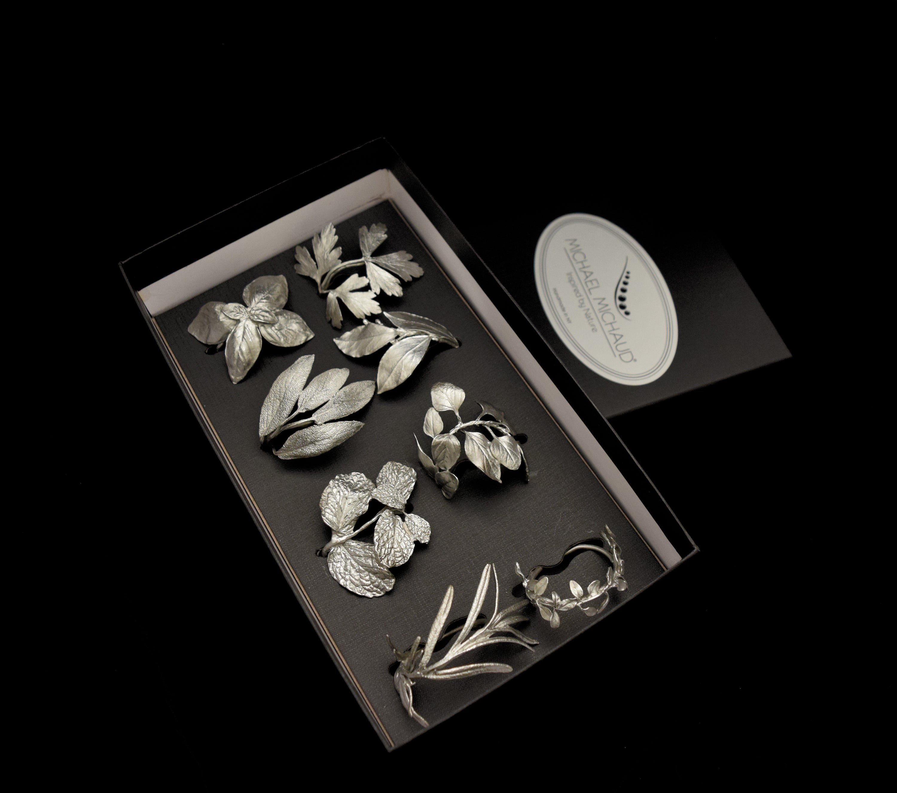 Herb Assortment for Eight Napkin Rings - Pewter