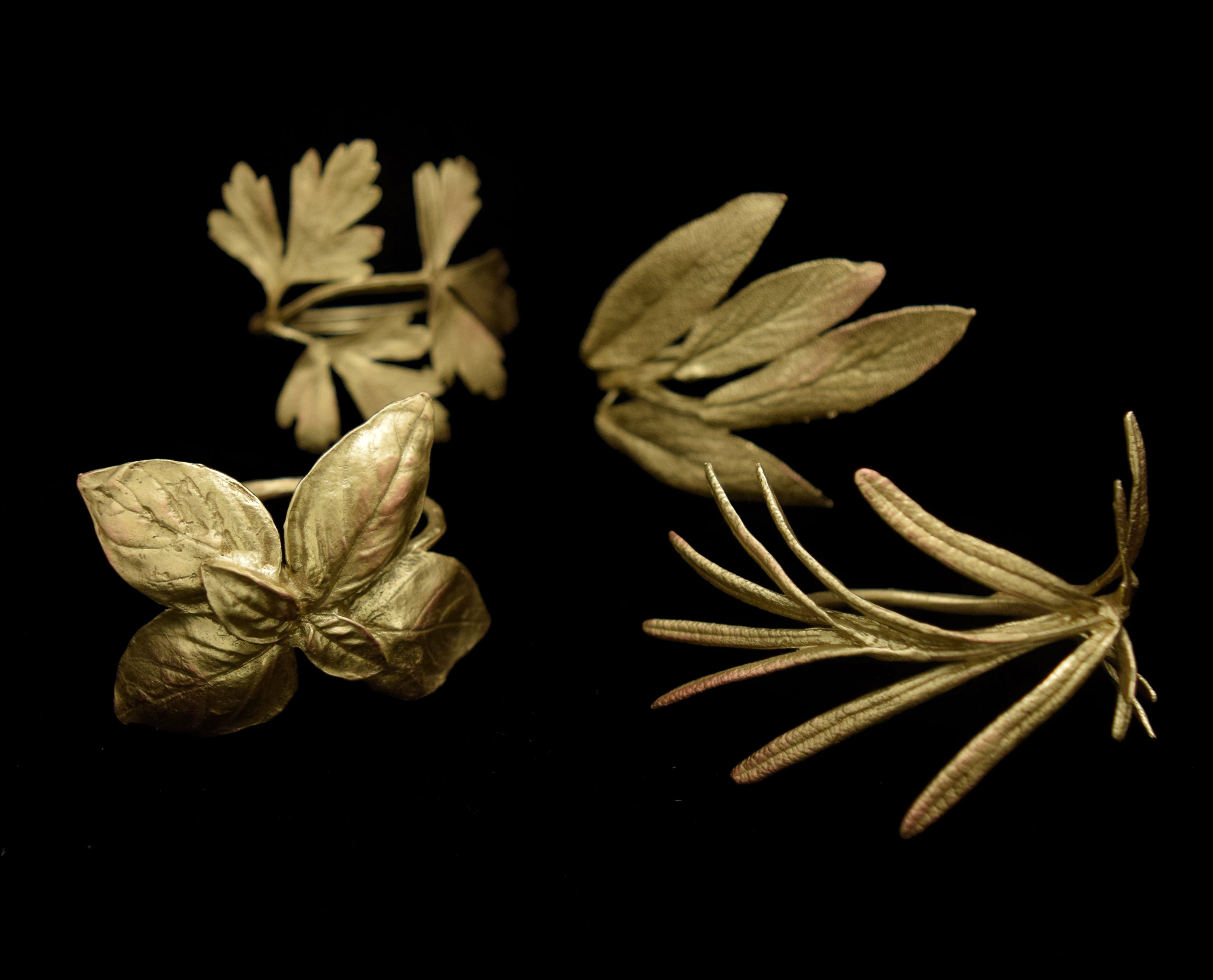 Italian Herbs Bronze Assortment for Four Napkin Rings