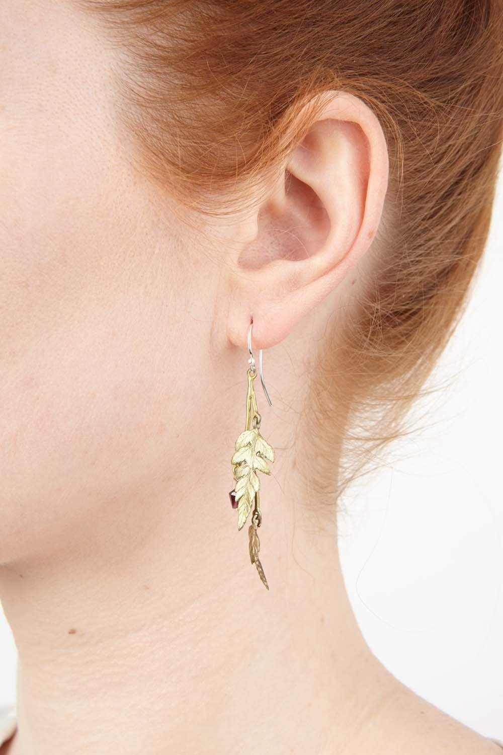 Fern Earrings - Double Dangle Leaf with Garnet