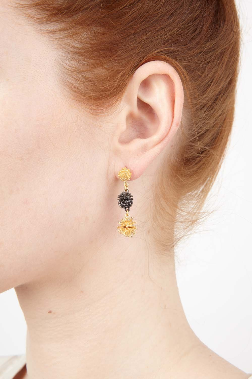 Gone To Seed Earrings - Two Tone Triple Dangle Post