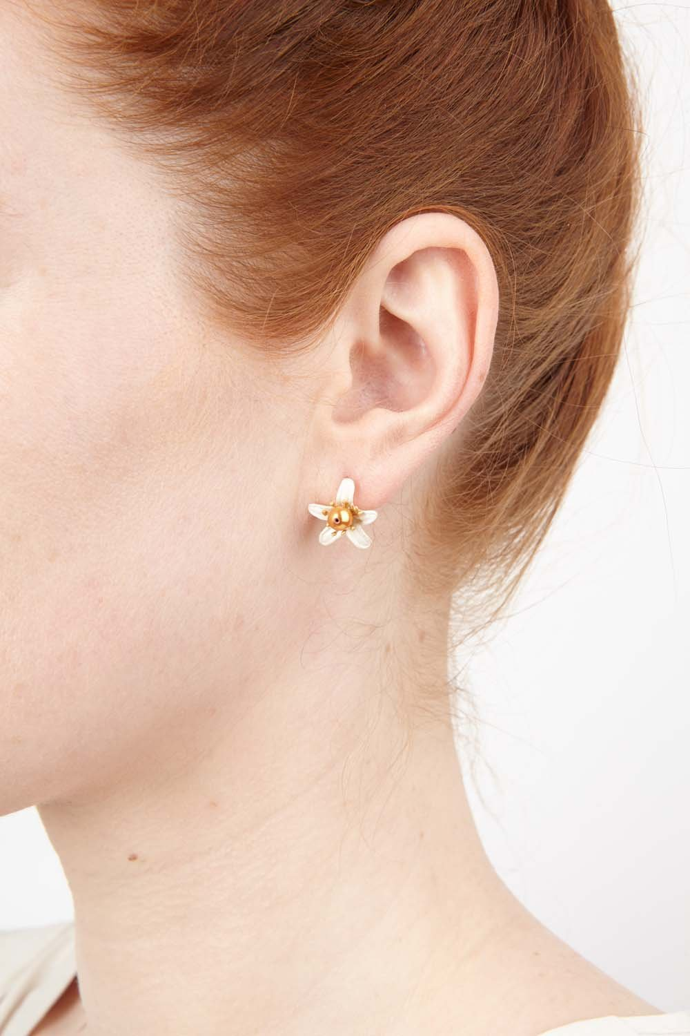 Orange Blossom Earrings - Petite Flower Stud