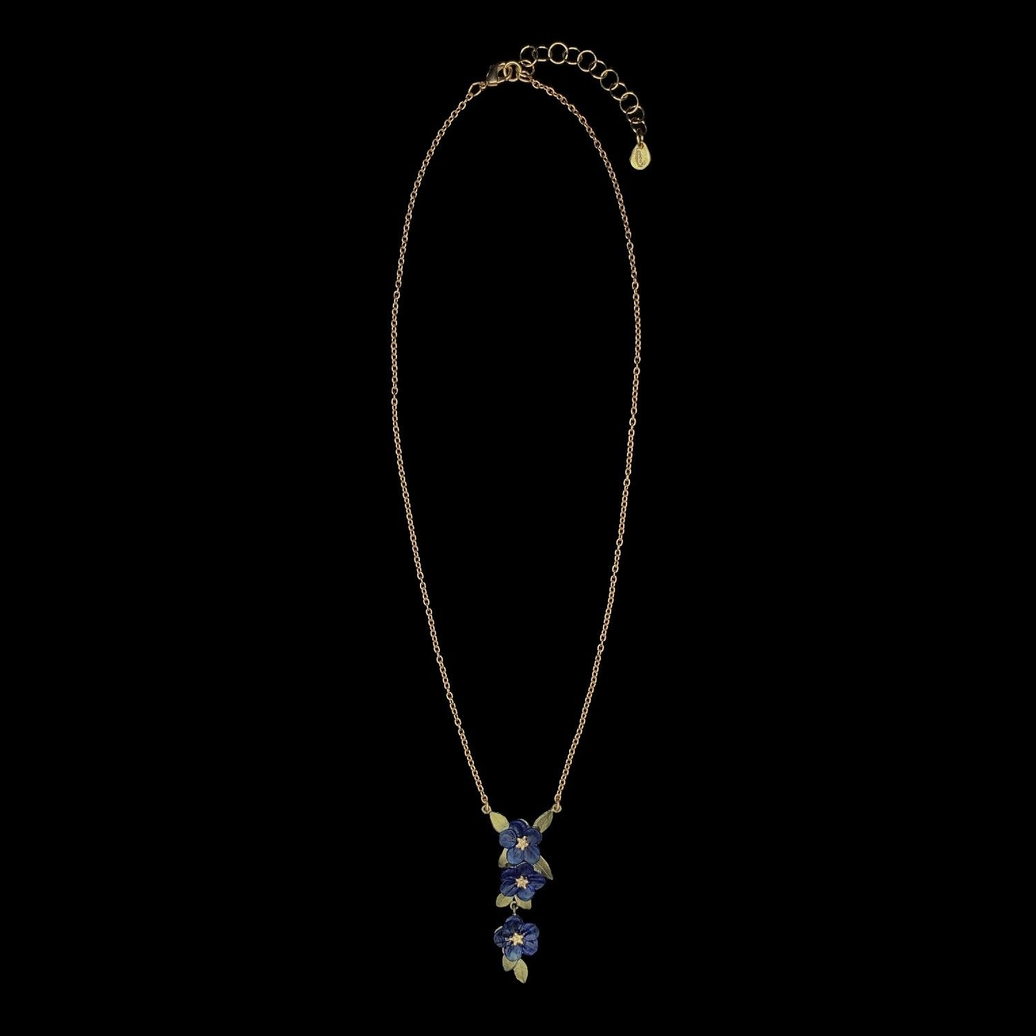 Blue Violet Pendant - Triple Flower