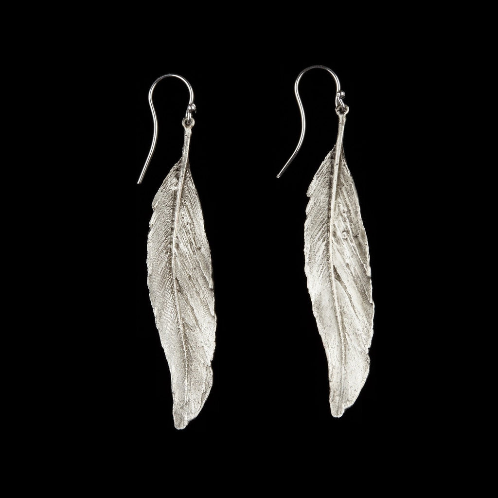 Feather Earring - Long Single Wire Silver