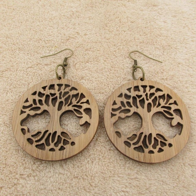 Tree Of Life Wooden Big Earring Free Shipping