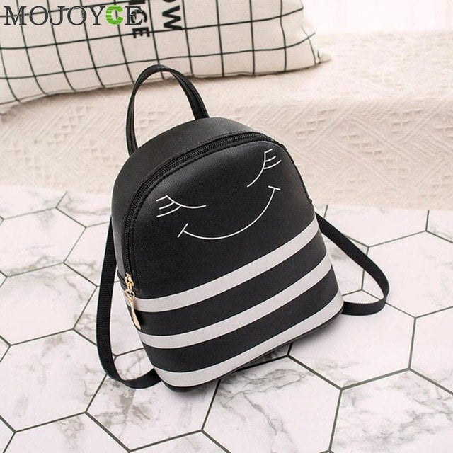 9f49a6d635 Women Leather Backpack children backpack Cartoon Stripe Print mini backpack  cute back pack backpacks for teenage