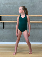 Balera forest green cross strap leotard