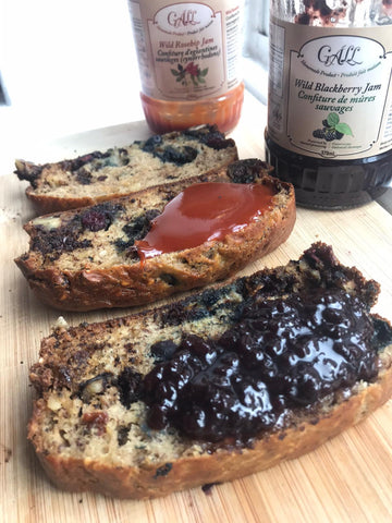 Blueberry chocolate banana bread with rosehip jam and blackberry jam