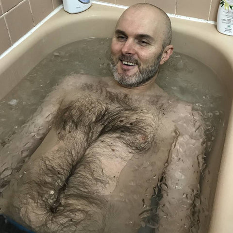 Man in ice bath