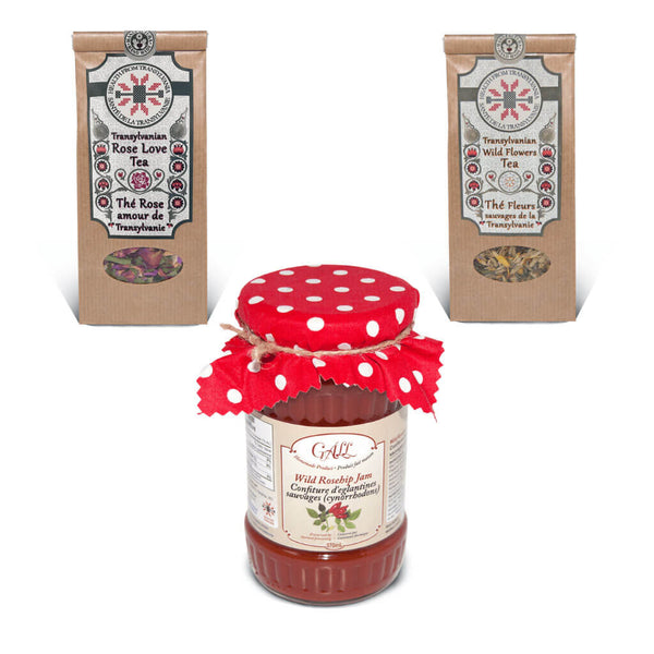 Spring Gift Set - Floral Organic Herbal Teas and Fruit Jam
