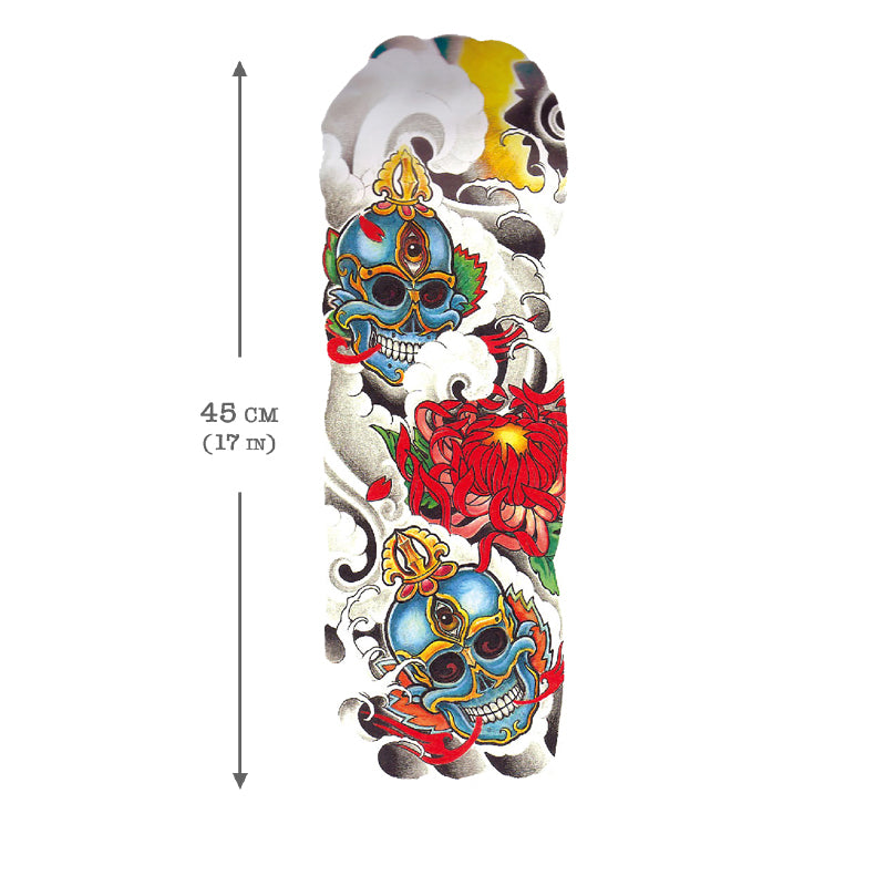 Temporary Tattoo Sleeve Skull
