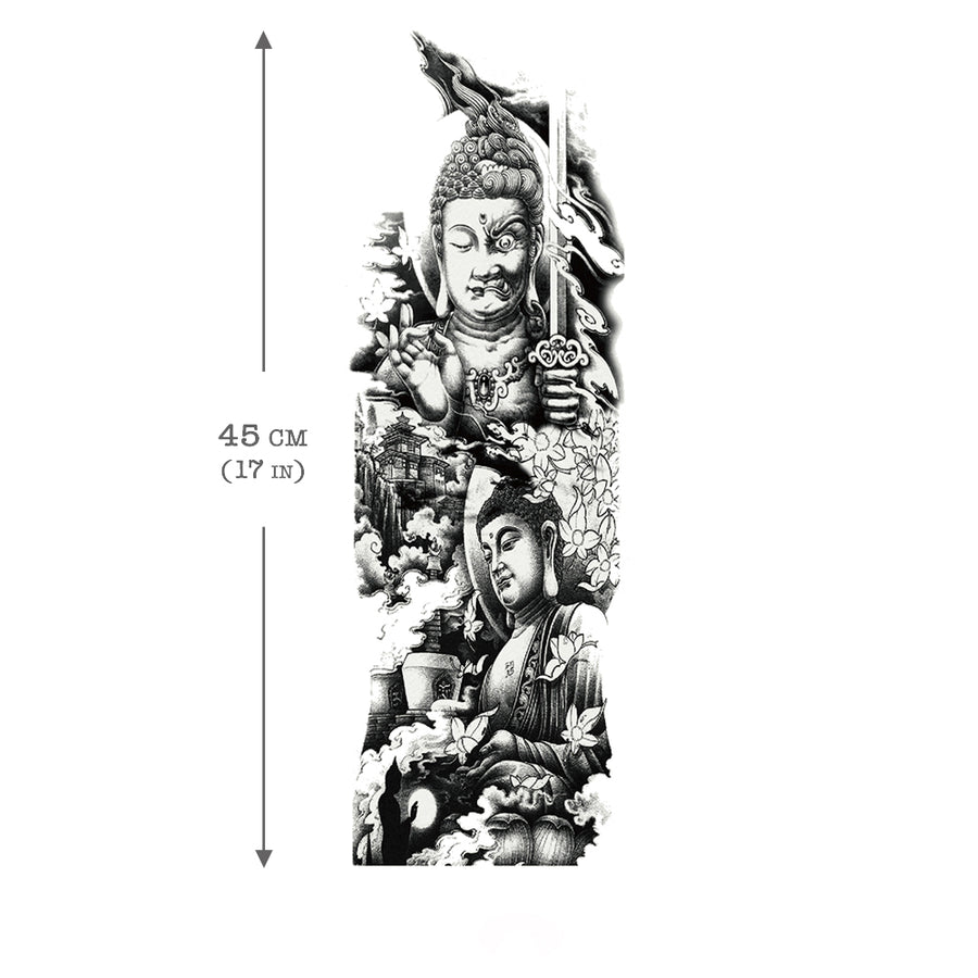 Temporary Tattoo Sleeve Buddha Buddhism