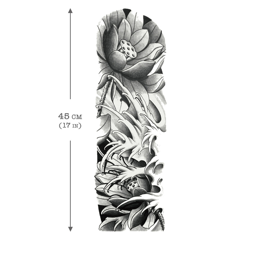 Temporary Tattoo Sleeve Lotus (Full Arm)