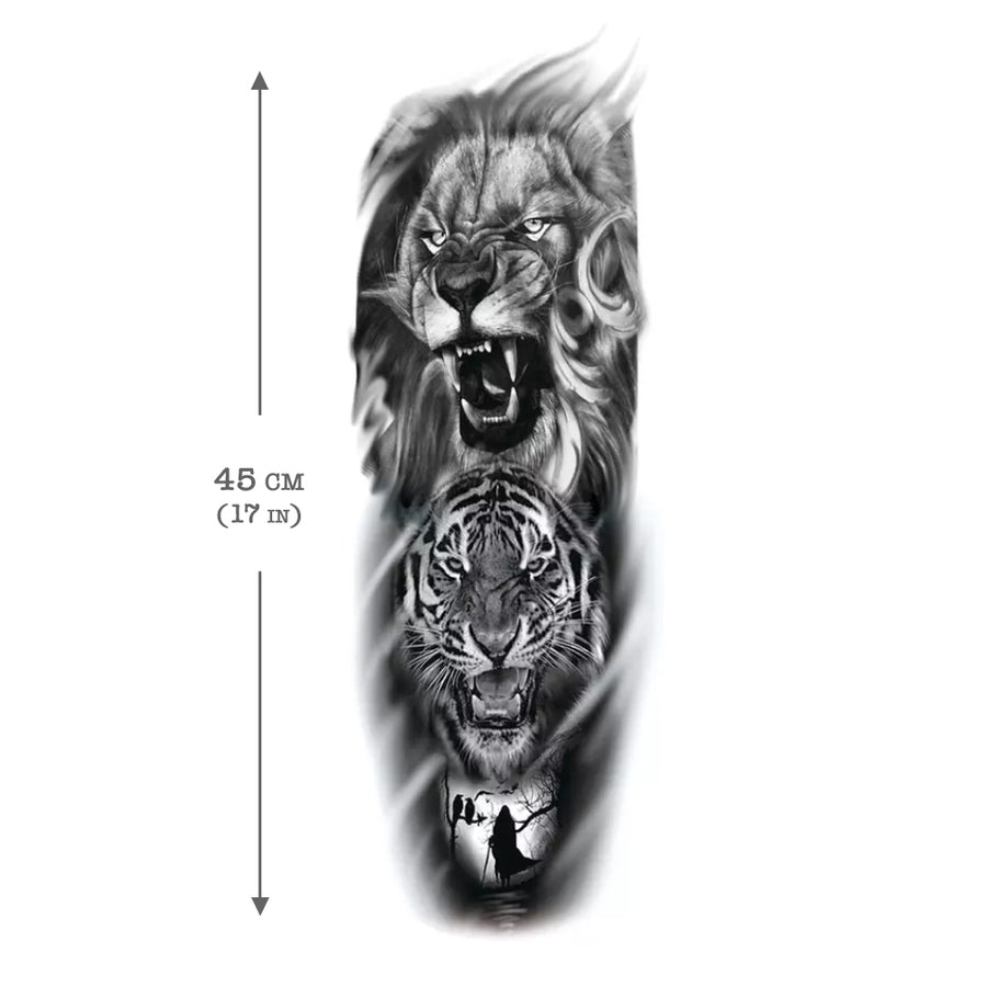 Lion and Tiger Sleeve Temporary Tattoo