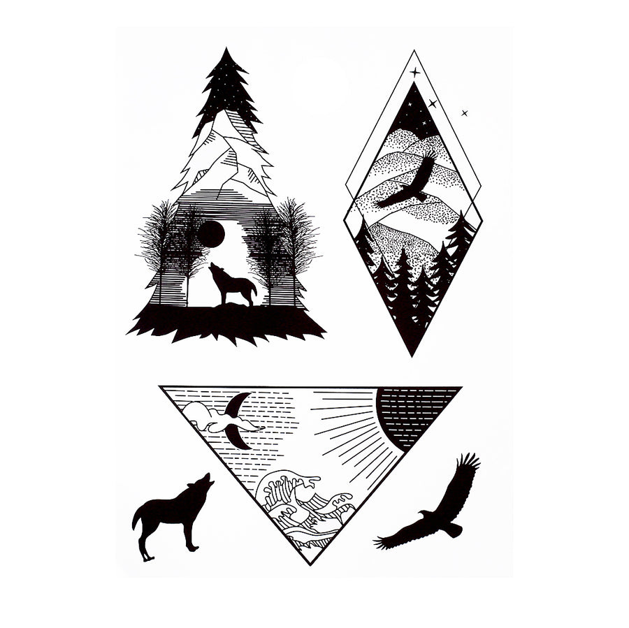 Wolf Eagle Geometrical Mountain Temporary Tattoo Inkotattoo