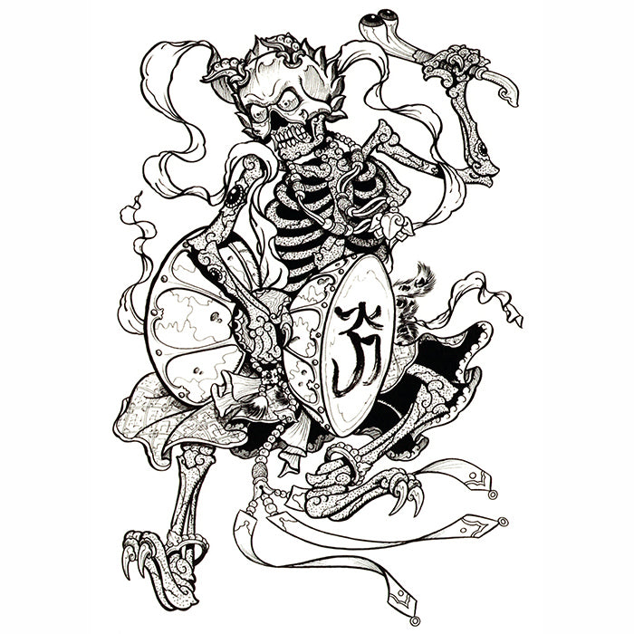 Temporary Tattoo Skeleton Demon