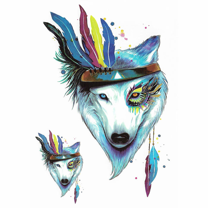 Wolf watercolors temporary tattoo