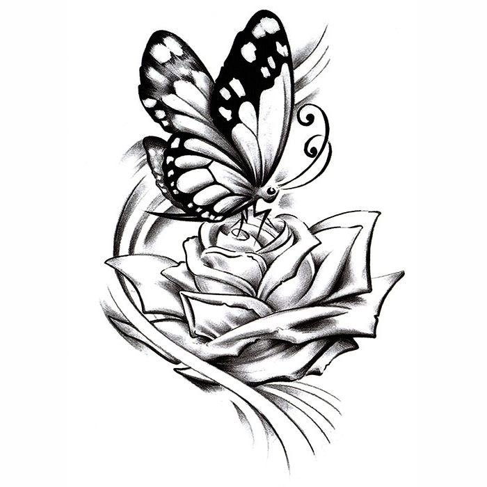 3099113cd InkoTattoo : Temporary Tattoo | Butterfly | Butterfly & Rose ...