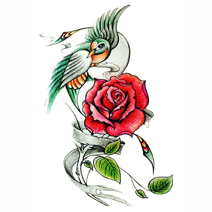 Temporary Tattoo Bird Rose