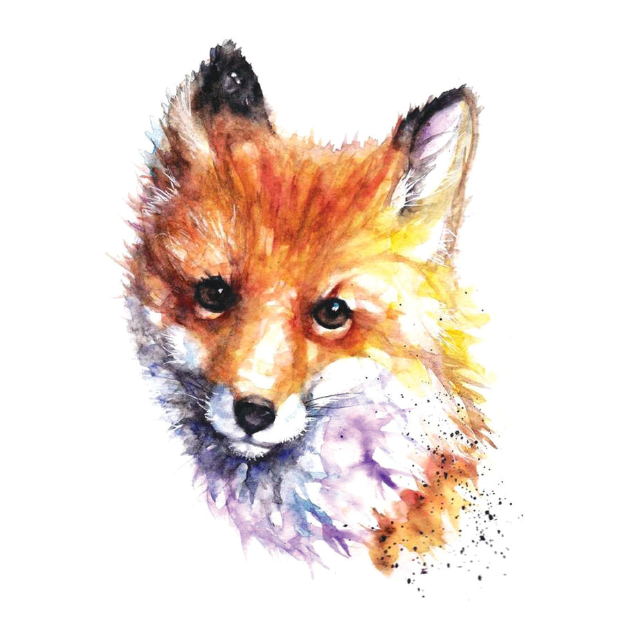 Fox Watercolor Temporary Tattoo Inkotattoo