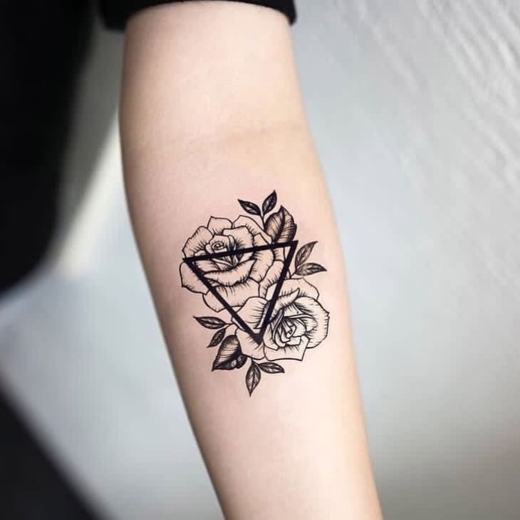 Roses Triangle Temporary Tattoo Inkotattoo