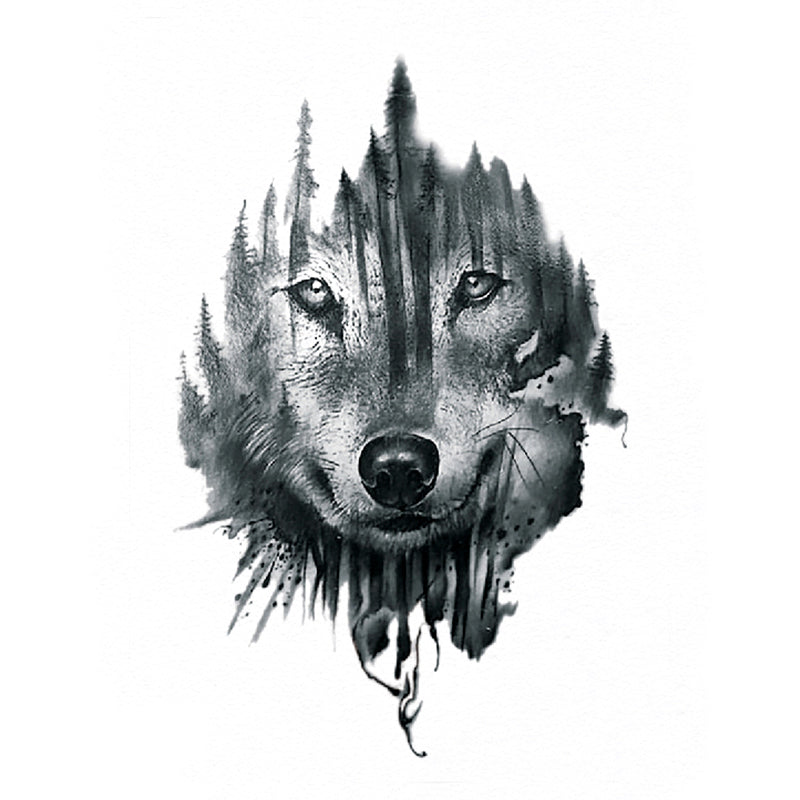 wolf temporary tattoo inkotattoo