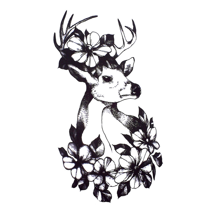 Deer Flowers Temporary Tattoo