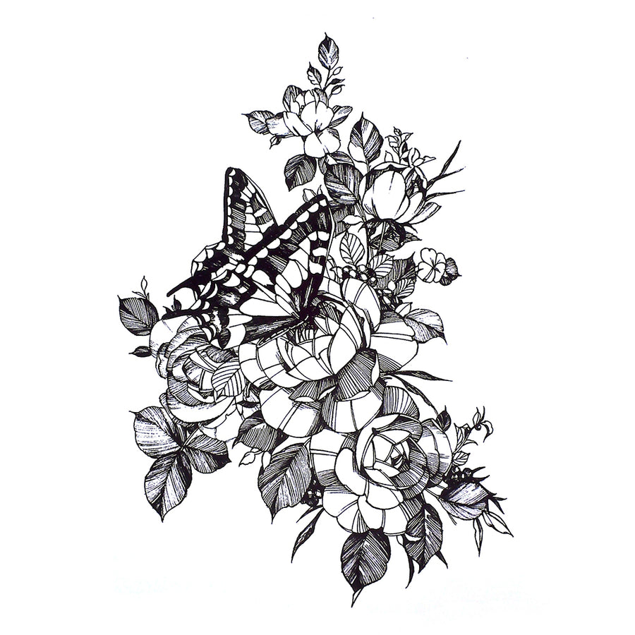 Butterfly Flowers Temporary Tattoo Inkotattoo