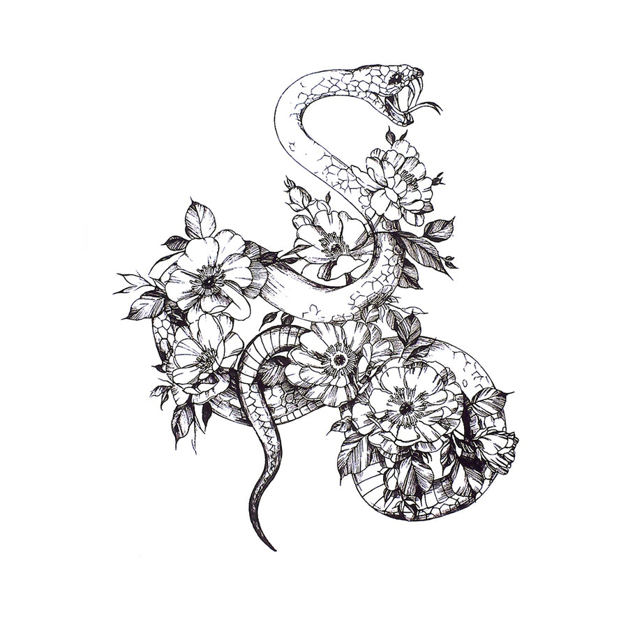 Snake Flower Temporary Tattoo Inkotattoo