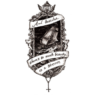 Temporary Tattoo Old School Boat Quotes
