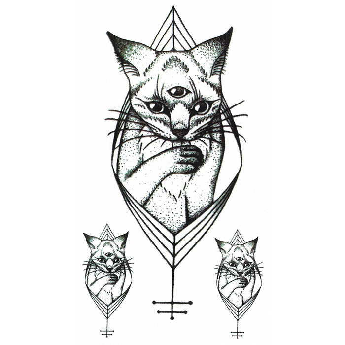 Temporary Tatto Geometric Cat