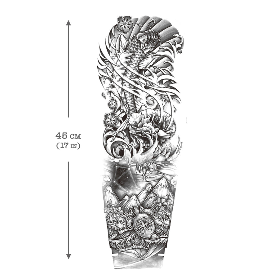 Mountains Ocean Carp Koi Sleeve Temporary Tattoo