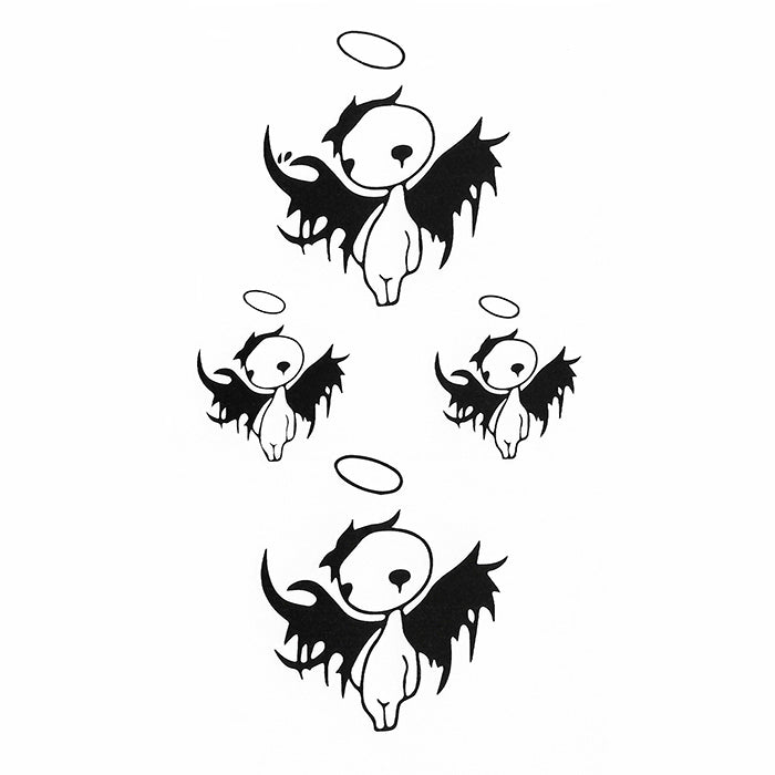 Temporary Tattoo Angel Demon Minimalist