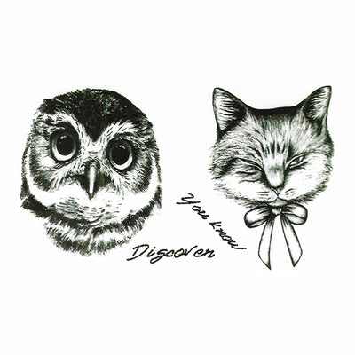 Temporary Tattoo Cat Owl Bird