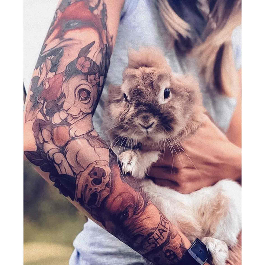 Fox Rabbit sleeve temporary tattoo