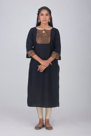 Plain Black and Banaras Dupion Kameez