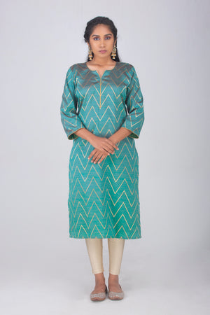 Green Semi Silk Kameez