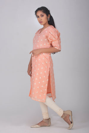 Pastel Orange Kameez with Pleated Sleeves