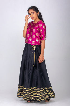 Black Skirt with Banaras Border