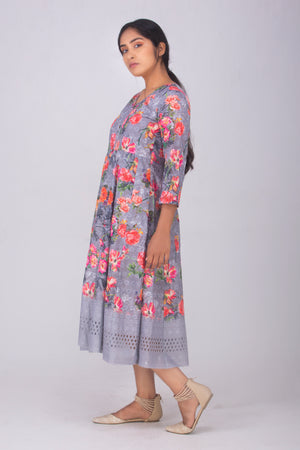 Grey Floral Hakoba Dress
