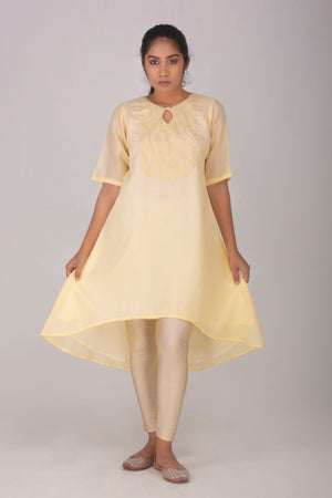 Pastel Yellow Kameez with Pearls