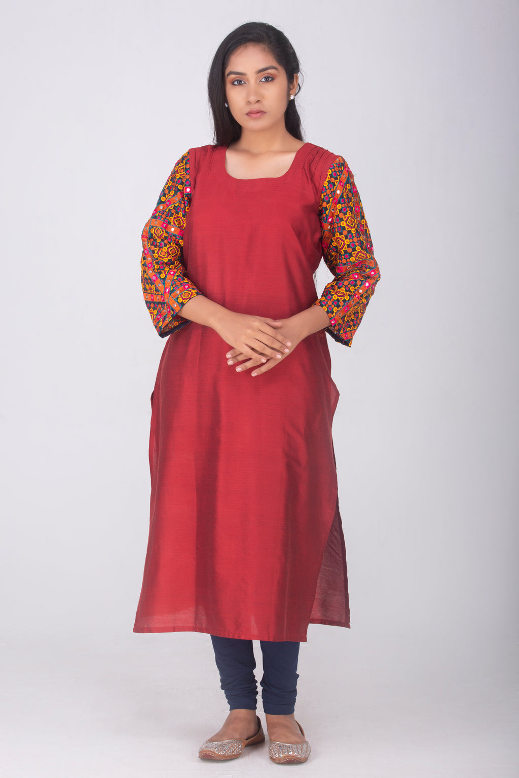 Red Cotton Silk Kameez with Kutch Sleeves