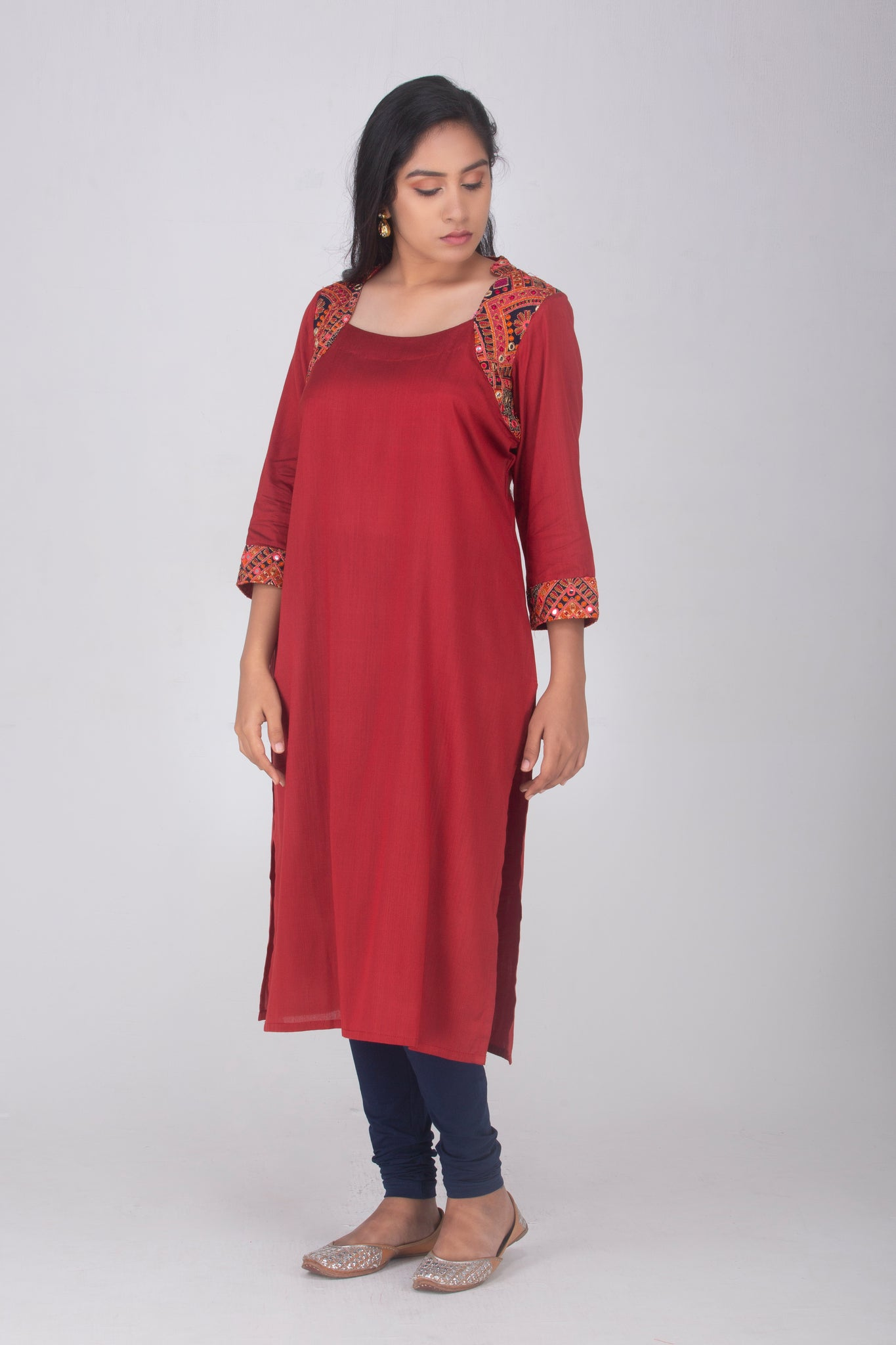 Red Cotton Silk Kameez with Kutch Neckline