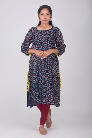 Blue Muslin Kammez with Ajrak Prints