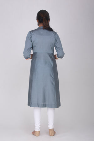 Grey cotton silk Kameez with Embroidered Yoke
